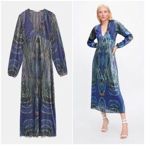 Abstract Metallic Fiber Abstract Long Dress